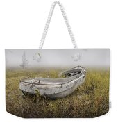 Abandoned Boat In The Grass On A Foggy Morning Weekender Tote Bag