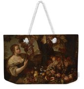 Abraham Brueghel After, Girl With Grapes And Still Life With Fruit. Weekender Tote Bag