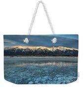 Abraham Lake Ice Bubble Sunset Weekender Tote Bag