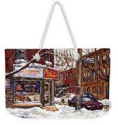 Rue De Pointe St Charles En Hiver Scenes De Rue De Montreal Peinture Originale A Vendre Paul Patates Weekender Tote Bag
