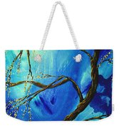 Abstract Art Asian Blossoms Original Landscape Painting Blue Veil By Madart Weekender Tote Bag