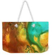 Abstract Art Colorful Turquoise Rust River Of Rust I By Madart  Weekender Tote Bag