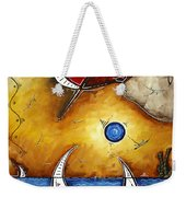 Abstract Art Contemporary Coastal Cityscape 3 Of 3 Capturing The Heart Of The City I By Madart Weekender Tote Bag