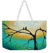 Abstract Art Landscape Bird Painting Family Perch By Madart Weekender Tote Bag