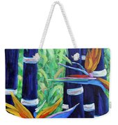 Abstract Bamboo And Birds Of Paradise 04 Weekender Tote Bag