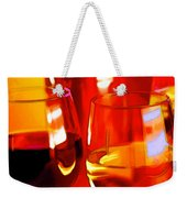 Abstract Bottle Of Wine And Glasses Of Red And White Weekender Tote Bag