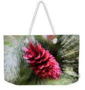 Abstract Christmas Card - Red Pine Cone Blast Weekender Tote Bag