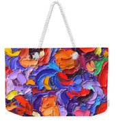 Abstract Colorful Flowers Impasto Palette Knife Modern Impressionist Oil Painting Ana Maria Edulescu Weekender Tote Bag