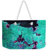 Abstract Corrosive Metal Background With Turquoise Paint Cracks Weekender Tote Bag