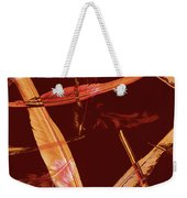 Abstract Feathers Falling On Brown Background Weekender Tote Bag