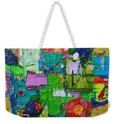 Abstract Flowers On Gold Contemporary Impressionist Palette Knife Oil Painting By Ana Maria Edulescu Weekender Tote Bag
