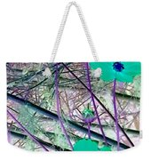 Abstract Flowrs In Green And Blue Weekender Tote Bag