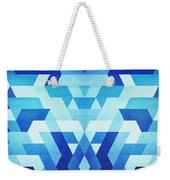 Abstract Geometric Triangle Pattern Futuristic Future Symmetry In Ice Blue Weekender Tote Bag