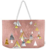 Abstract Geometric Triangles, Gold, Silver Rose Gold Weekender Tote Bag