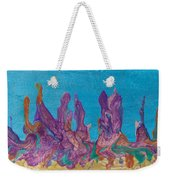 Abstract Mirage Cityscape In Blue Weekender Tote Bag by Julia Apostolova