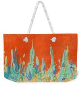 Abstract Mirage Cityscape In Orange Weekender Tote Bag by Julia Apostolova