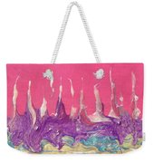 Abstract Mirage Cityscape In Pink Weekender Tote Bag by Julia Apostolova