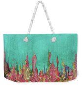 Abstract Mirage Cityscape In Turquoise Weekender Tote Bag by Julia Apostolova