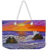 Abstract Ocean- Oil Painting- Puple Mist- Seascape Painting Weekender Tote Bag