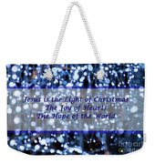 Abstract Of Blue Lights Text Weekender Tote Bag