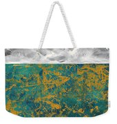 Abstract Original Painting Contemporary Metallic Gold And Teal With Gray Madart Weekender Tote Bag