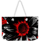 Abstract Red White And Black Daisy Weekender Tote Bag