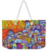 Abstract Santorini Oia Sunset Floral Sky Impressionist Palette Knife Painting  Ana Maria Edulescu Weekender Tote Bag
