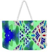 Abstract Seamless Pattern - Blue Green Turquoise Red White Weekender Tote Bag
