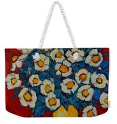 Abstract Wild White Roses Original Oil Painting Weekender Tote Bag