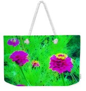 Abstract Zinnias In Green And Pink Weekender Tote Bag