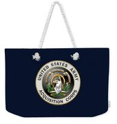 Acquisition Corps - A A C Branch Insignia Over Blue Velvet Weekender Tote Bag
