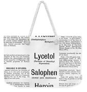 Ad For Bayers Drugs, Including Heroin Weekender Tote Bag