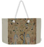 Adam & Eve Embroidered Picture Weekender Tote Bag