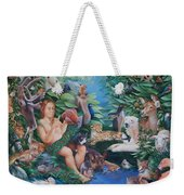 Adam Naming The Animals And The Appearance Of Eve Weekender Tote Bag by Rosemarie Adcock