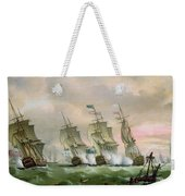 Admiral Sir Edward Hawke Defeating Admiral De Conflans In The Bay Of Biscay Weekender Tote Bag by Thomas Luny