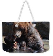 Adorable Grizzly Bear Playing With A Maple Leaf While Sitting In Weekender Tote Bag