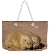 Adorable Pair Of Prairie Dogs Cuddling Together Weekender Tote Bag