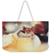 Adorable Tiny Hamster Pet Feasting On Corn Weekender Tote Bag