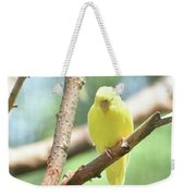 Adorable Yellow Budgie Parakeet Relaxing In A Tree Weekender Tote Bag