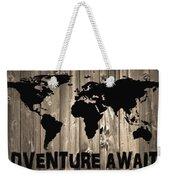 Adventure Awaits Graphic Barn Door Weekender Tote Bag