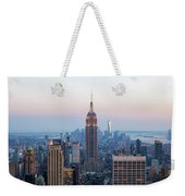 Aerial Night View Of Manhattan Skyline In New York Weekender Tote Bag