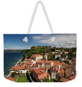 Aerial Of Piran Slovenia On Gulf Of Trieste Adriatic Sea With St Weekender Tote Bag
