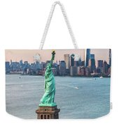 Aerial Of The Statue Of Liberty At Sunset, New York, Usa Weekender Tote Bag