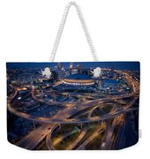 Aerial Of The Superdome In The Downtown Weekender Tote Bag