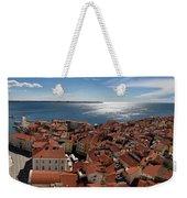 Aerial Panorama Of Piran Slovenia On Adriatic Sea With Marina An Weekender Tote Bag