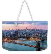 Aerial Panoramic Of Midtown Manhattan At Dusk, New York City, Us Weekender Tote Bag