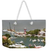 Aerial View Harbour Town Lighthouse In Hilton Head Island Weekender Tote Bag