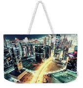 Aerial View Of Dubai's Business Bay At Night. Weekender Tote Bag