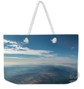 Aerial View Of Mountain Formation With Low Clouds During Daytime Weekender Tote Bag