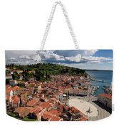 Aerial View Of Piran Slovenia On The Adriatic Sea Coast With Har Weekender Tote Bag